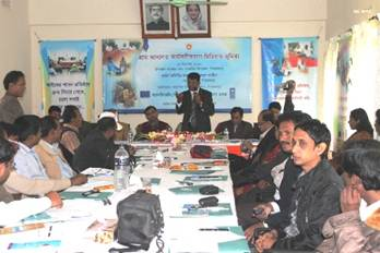 Description: Participants are seen attending at media workshop on Village Courts on December 15 at Vandaria Pirojpur (2)